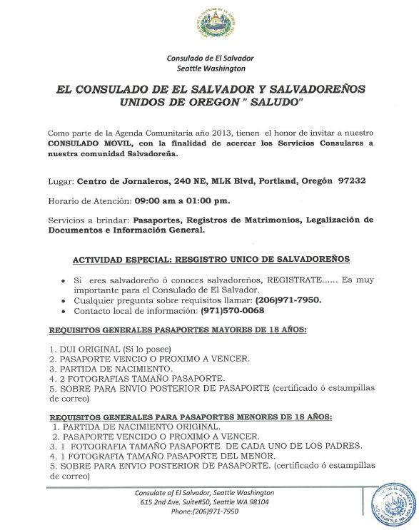 Consulado Móvil de El Salvador viene a Portland | Immigrant Law Group PC